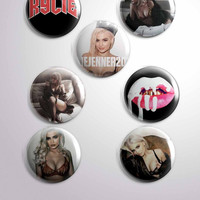 Kylie Jenner Cosmetics Photoshoot Button Badges Pins Set of 7
