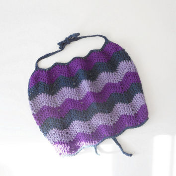 Chevron Striped Crochet Halter Top in Purple and Navy, Size Large, ready to ship.