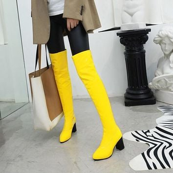 Women Over The Knee PU Leather Thick Square Heel Fashion Boots