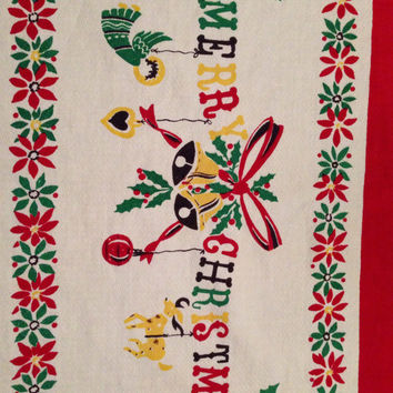 Retro Christmas Tablecloth Large Rectangle- Vintage 1950's Rare