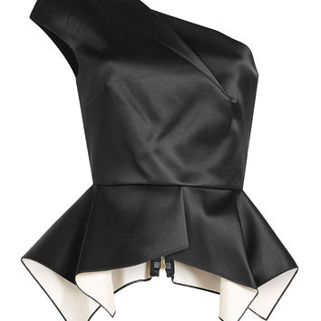Asymmetric Satin Top with Peplum - Roland Mouret | WOMEN | US STYLEBOP.COM