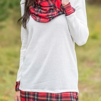 Chic White Autumn Wind Plaid Cowl Neck Tunic Top