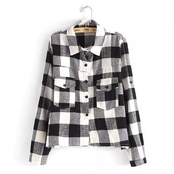 Plaid Pattern Pocket Long Sleeves Blouse