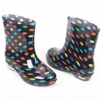 Rain Boots | 2017 Waterproof Colorful Spotted Pattern Ankle Rubber Boots Slip-Resistant Shoes