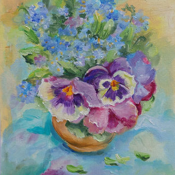 Pansies Blue FLOWERS Framed Impessionistic painting Classic STILL LIFE Small size Fine Art Hand painted form nature Ready to hang Floral Art