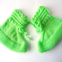 Handmade Knitting Sleeping Socks or Home Socks - Slippers - Light Green