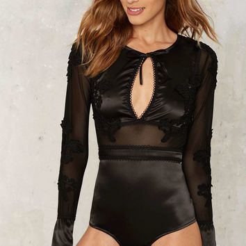 SKIVVIES by For Love & Lemons Soliana Satin Bodysuit