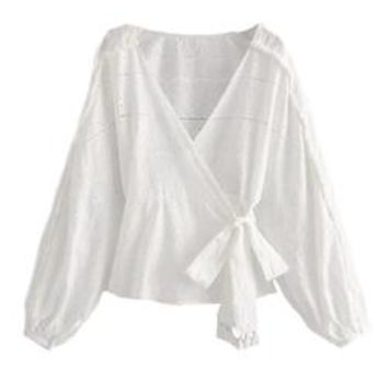 'Jensen' Broderie Anglaise Bishop Sleeve Front Tied Wrap Shirt