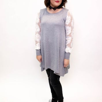 Heather Grey Lace Knitted Sweater Tunic