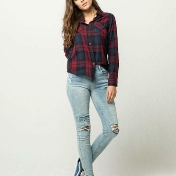 FULL TILT Womens Plaid Boyfriend Shirt