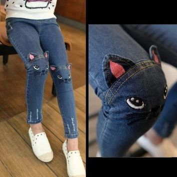Kids Cats on Knee Jeans