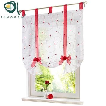 Sinogem Roman Curtain New Design Floral Embroidered Sheer Window Curtain For Kitchen Living Room Voile Tulle Screening Panel New