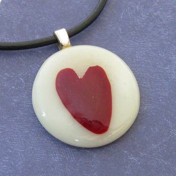 Fused Glass Necklace, Round, Heart, Cream, Red - Endless Love by mysassyglass