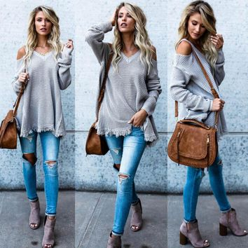 HIRIGIN Hot Fashion Women's Lace Up Long Sleeve Tunic Sweater V-Neck Loose Relaxed Black Gray Casual Autumn Clothes