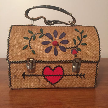 Embroidered crewel work folk art lunch box/ hand bag vintage 60s rooster, flower, heart decoritive bag