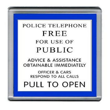 Dr. Who Tardis Police Sign Coaster 4 X 4 inches