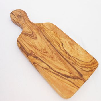 Engraved Olive Wood Cheese Board with Handle / Medium wooden rustic cutting Chopping Serving board