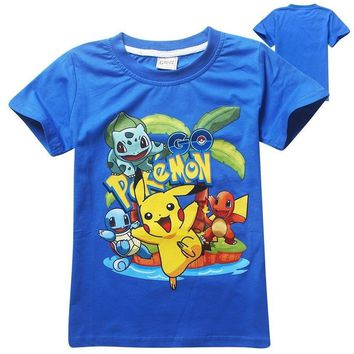 Summer Children Kids T-shirts Cotton  Boys Girls Tops Tees Pikachu T Shirt for 3-9Years Baby boys clothes Child BuleKawaii Pokemon go  AT_89_9