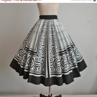 STOREWIDE SALE 50's Mexican Circle Skirt // Vintage 1950's Handpainted Black White Tribal Mayan Sequin Mexican Cotton Circle Skirt M