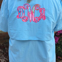 Monogrammed Appliqued Fishing Shirt with Lily Pulitzer fabric- Great for swimsuit cover ups