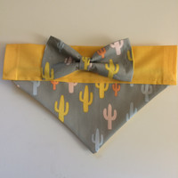Dog Bandana - Cactus Print with Bow