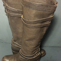 FRYE 76396 Jane Strappy Brown Leather Riding Boots Women's Size 7.5