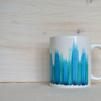 Blue and Teal Mug - Brush Stroke Coffee Cup - Teal and Blue All Over Brush Stroke Mug - Tea Cup - Coffee Mug - Artist Abstract Mug
