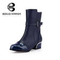 BONJOMARISA Big Size 34-43 Motorcycle Boots Women Heels Shoes Fashion Half Knee Ankle Boots Winter Buckle Platform Shoes Woman