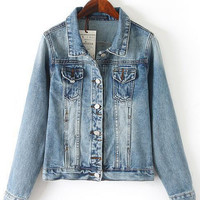 Denim Shirt Collar Long Sleeve Jacket