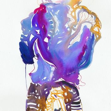 "Print of Watercolour Fashion Illustration. 13'' x 19"". Titled - Blumen"