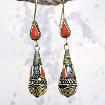 FREE SHIPPING Vintage Afghan Kuchi Earrings,Teardrop ,Kuchi Jewelry,Antique,Belly Dance,Tribal Ethnic Earrings,Bohemian,Gypsy Boho Earrings