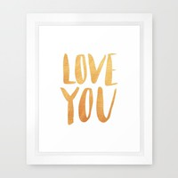 Love you - gold lettering Framed Art Print by Allyson Johnson | Society6