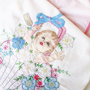 Vintage Baby Bed Sheet Crib Cover Handmade Applique Embroidery Cottage Chic New Baby