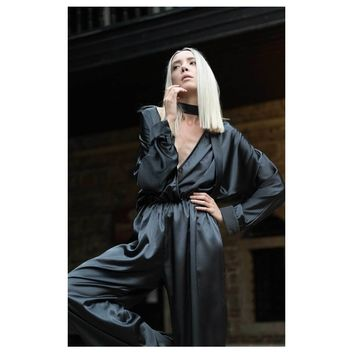 Plunging Neckline Satin Jumpsuit - Black