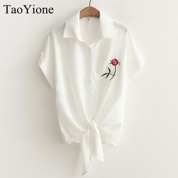 Summer Women Casual Tops Short Sleeve Embroidery White Top Blouses Shirts Sexy Kimono Loose Beach Shirt Blusas Feminina