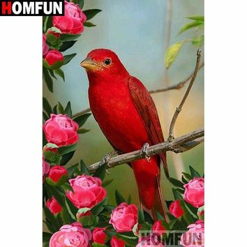5D Diamond Painting Red Bird and Roses Kit