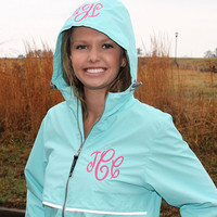 Monogram Aqua Rain Jacket Personalized Hood & Left Chest