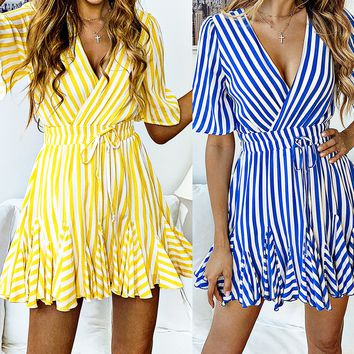Spring and summer fashion printed striped lace short-sleeved women's dress(Only 1 piece)Yellow