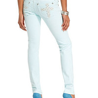 Miss Me Jeans, Skinny Rhinetone Cross Light-Blue Wash - Womens Jeans - Macy's