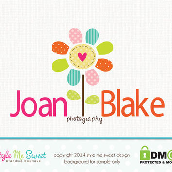 Premade Flower Logo Photography Logo Small Business Branding Hand Drawn