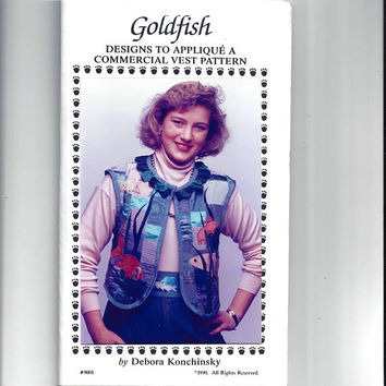 Goldfish Designs Only to Applique Vest Pattern, FACTORY FOLDED, UNCUT, From 1990, Critter Pattern Works, Vintage Pattern, Home Sewing Crafts