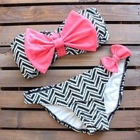 tribal chevron pink bow bikini - pink/black/white