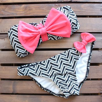 Tribal Chevron Pink Bow Bikini in Pink, Black, and White