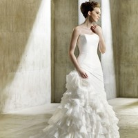 Wholesale A Line Sweetheart Floor Length Asymmetrical Tiered Ruffled Gown with Taffeta and Organza Naomi for $276.00 from China : IndeedBuyer.com.  - IndeedBuy