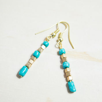Gold Cube Earrings Turquoise And Gold Jewelry Boho Dangle Earrings Gold Earrings Fishhook Earring Cube Earrings