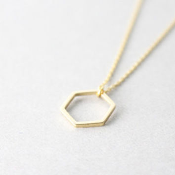 ESSENTIAL LG. hexagon necklace. minimal necklace. layer necklace. micah 6:8. geometric necklace. simple gold necklace. everyday necklace.