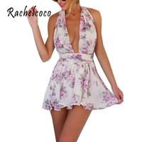 Rachelcoco New Women Summer Sexy Jumpsuit Sleeveless Deep V Neck Back Bow Slim Rompers Korean Designer Women's Printing Bodysuit