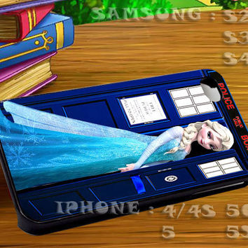 Disney Frozen Elsa On Tardis Doctor Who - For iphone 4 iphone 5 samsung galaxy s4 / s3 / s2 Case Or Cover Phone.