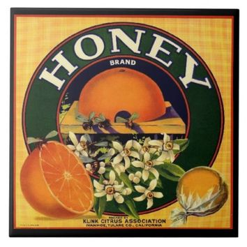 Vintage honey company advertisement ceramic tile
