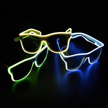 TGETH Smart Remote Control Glasses El Wire Fashion Neon LED Light Up Shutter Shaped Glow Rave Costume Party DJ Bright Glasses